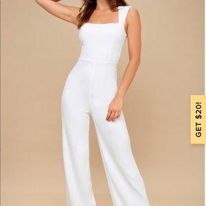Lulu's Enticing Endeavors White Jumpsuit Size M